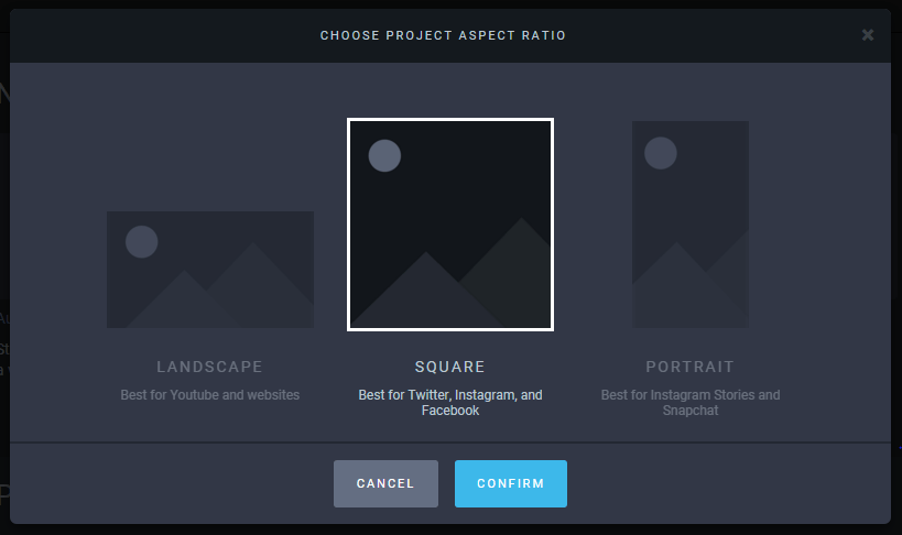 Choose project aspect ratio