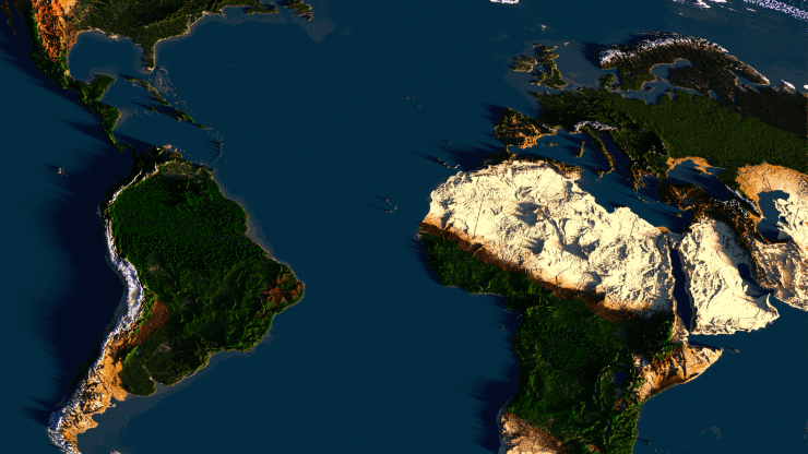 Chuncky Render of the 1:1000 Earth Map