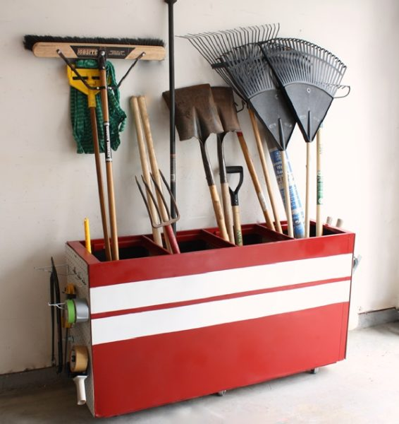 file cabinet converted to garage storage