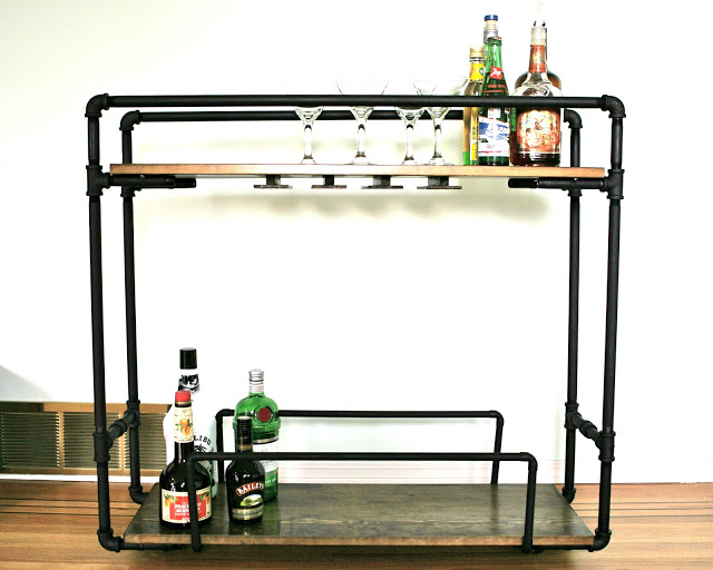 DIY galvanized pipe bar cart