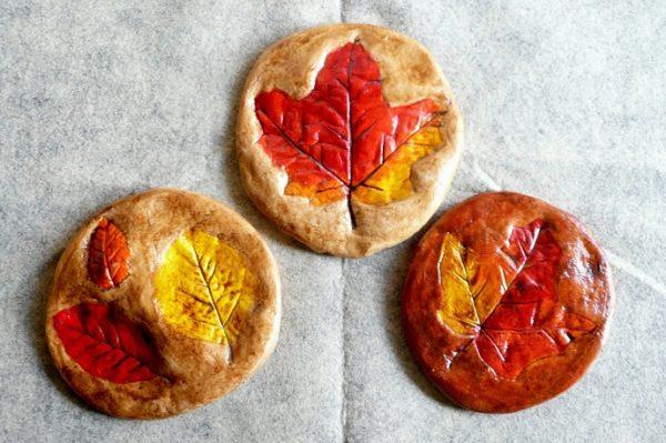 Salt dough leaf prints