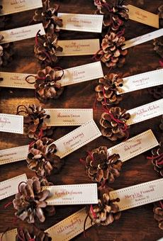 DIY pine cone place cards