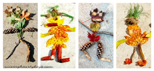 Leaf men collage for Earth Day