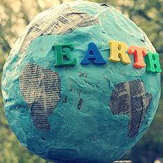 Paper mache globe for Earth Day