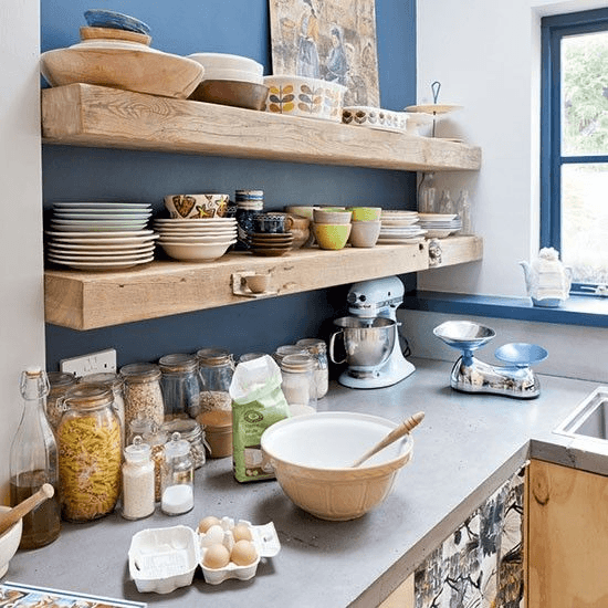 Repurposed wood crafted into shelving