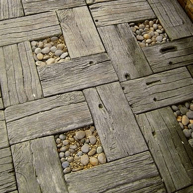 Wood walkway pavers crafted from repurposed wood