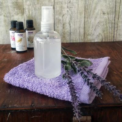 DIY leave-in hair conditioner spray, lavender sprigs, essential oils