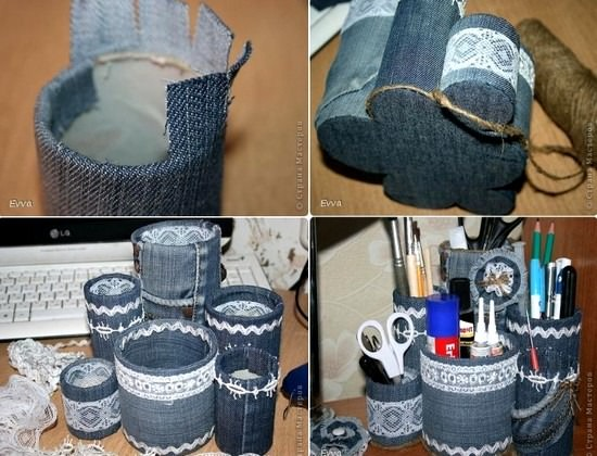 Recycle your jeans into these cute craft supply holders, courtesy of 8Trends.com.