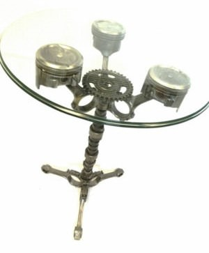 Table from Frost Auto Decor Features Pistons & Other Auto Parts. Photo: Etsy.Com