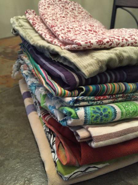 A stack of home-made cloth napkins
