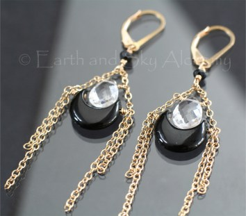 Black Onyx moon Quartz briolette earrings