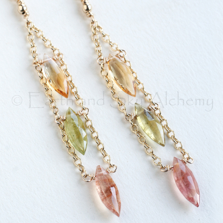 Pink and green Tourmaline with citrine marquise earrings