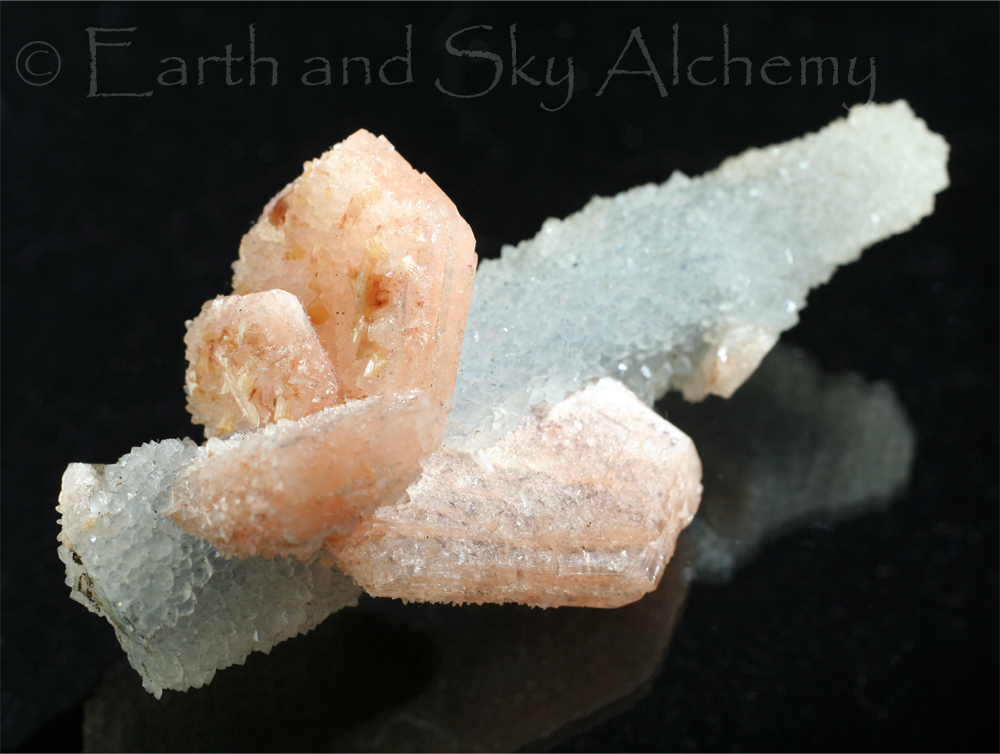 Stilbite on chalcedony stalactite