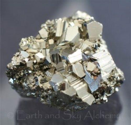 Pyrite pentagonal crystal cluster