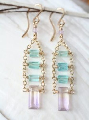 Ametrine, Apatite, Amethyst, 14k gold-filled earrings