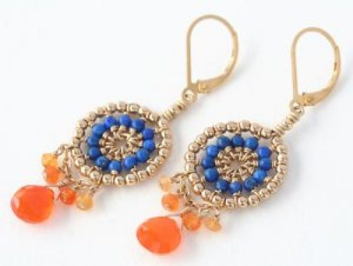 Lapis lazuli and Carnelian dreamcatcher earrings