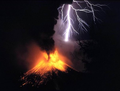 Volcano eruption with volcanic lightning