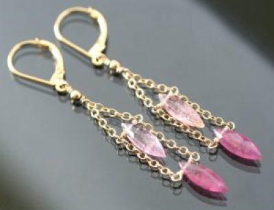 Pink Tourmaline Gemstone Earrings