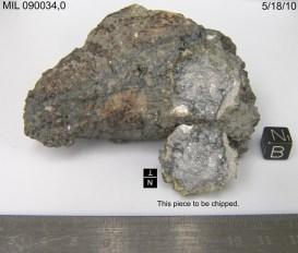 Lunar meteorite Miller Range 090034, found in Antarctica. Image courtesy of NASA JSC Curatorial Facility.