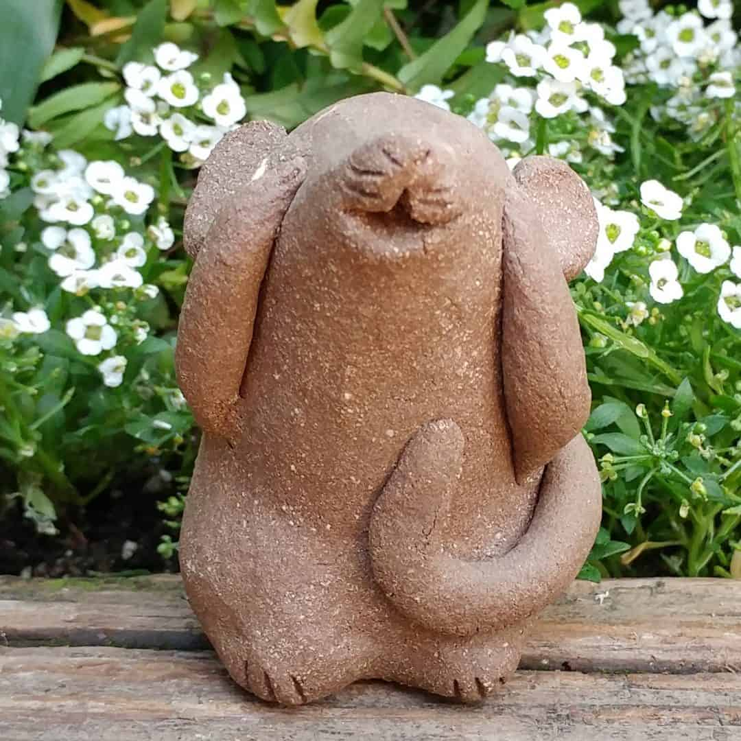 Clay Sitting Cat Sculpture   Margaret Hudson\'s Earth Arts