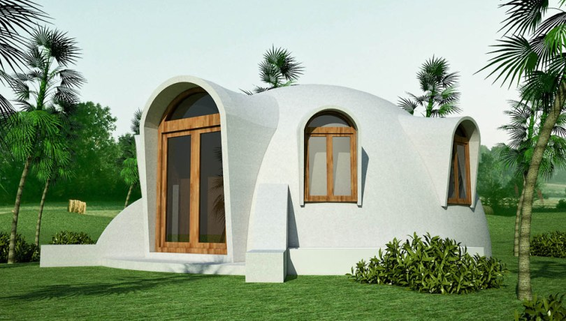 dome house plan   Earthbag House Plans Disaster resistant hemispheric dome made with double ferrocement shells  with insulating fill  click to