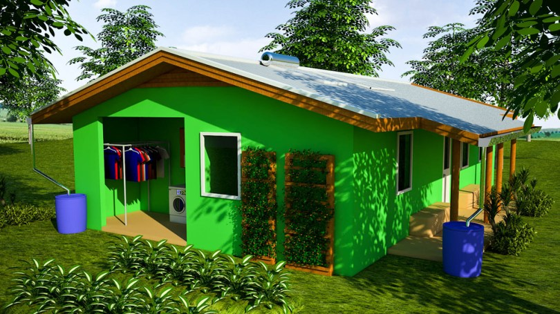 Final Craftsman House Proposal   Natural Building Blog Craftsman Bamboo and Plastic Bottle House  click to enlarge