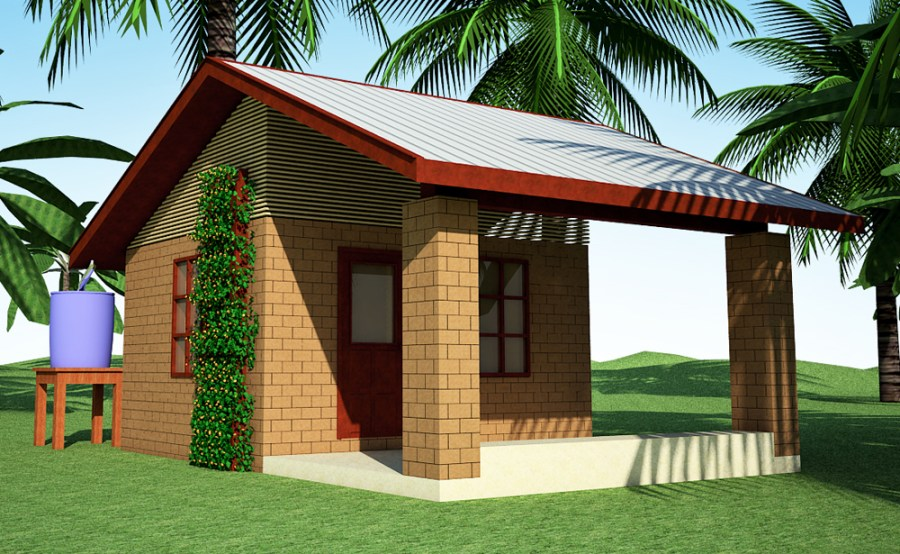 Please Vote for my Designs   Earthbag House Plans 300 CEB House with Bamboo Screening  click to enlarge