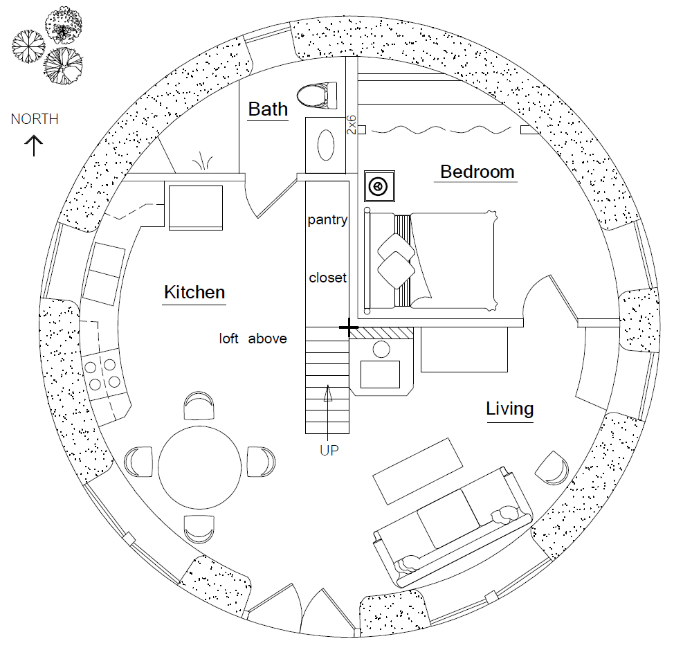 Best Kitchen Gallery: Round House Earthbag House Plans of Circular Room Home Plan on rachelxblog.com