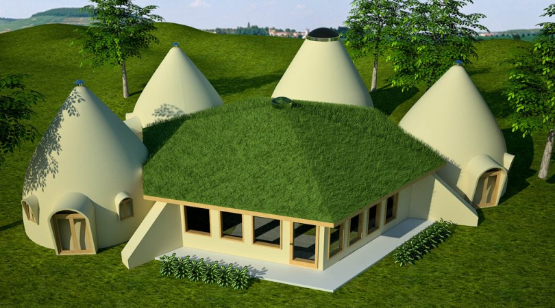 Domes   Earthbag House Plans Earthbag Lodge with Domes  click to enlarge