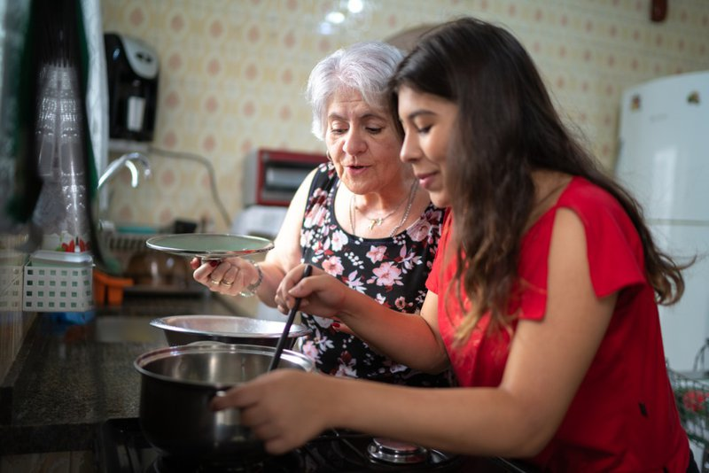 women family teach cooking