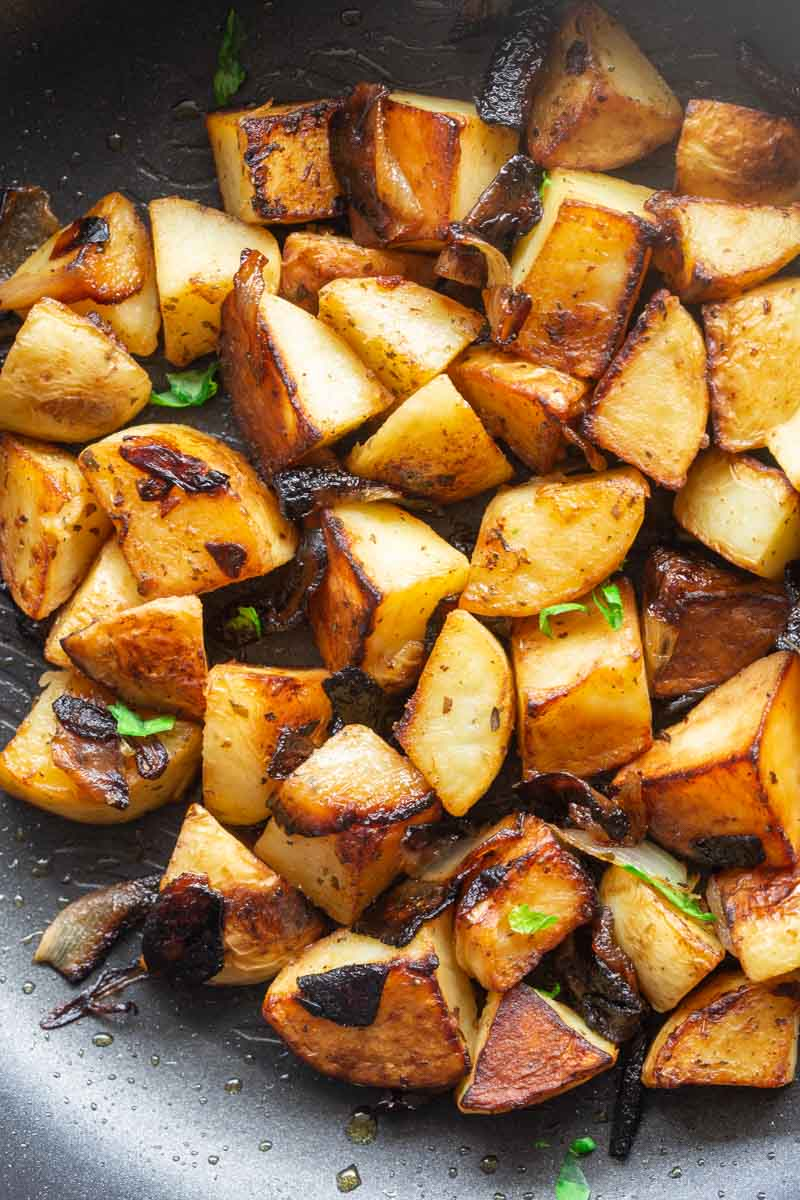 pan cooked potatoes and onions