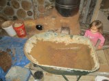 2013-12-28 : Getting ready to mix up a new batch, first, clay...