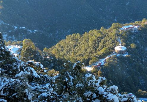 A picture of Woodstock School from above, covered in snows, must have been taken in Dec - Feb, Mussoorie, India