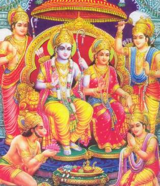 Rama-Sita and Courtiers, exemplars of duty and fidelity in married life.
