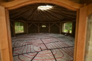 Underfloor heating pipes laid over Glapor Foam glas insulation.