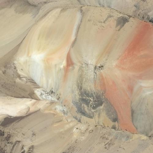 Satellite image of colorful terrain in Caylloma, Peru