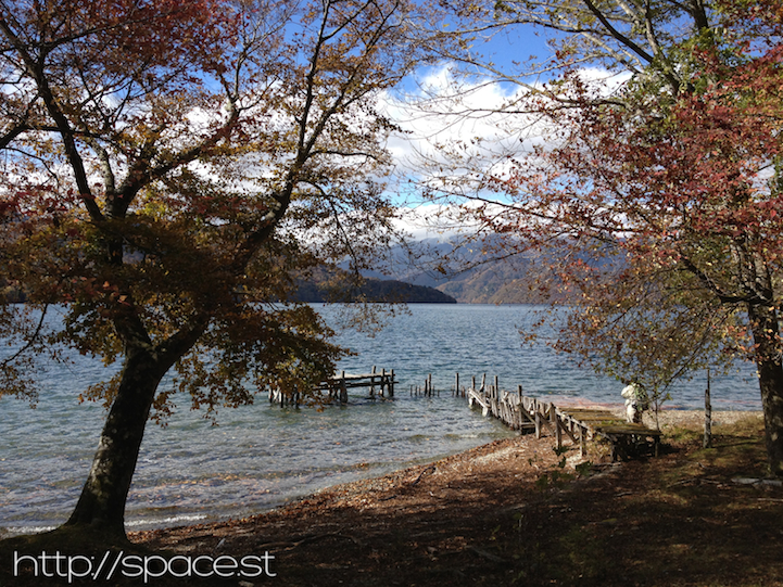 There are some great trees with autumn leaves on Lake Chuzeji heading toward Nujina Peninsula.