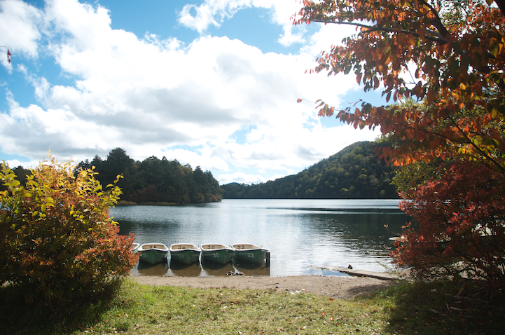 Lake Yu (yunoko) and autumn leaves