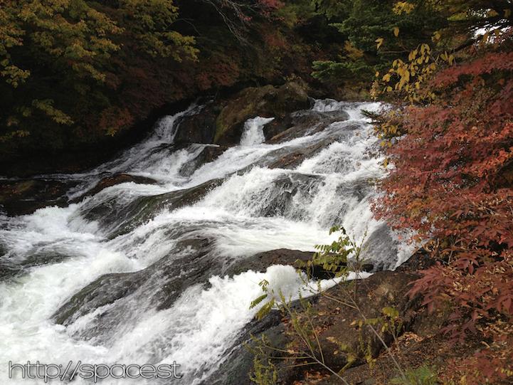 Ryuzu waterfall cascading on stones