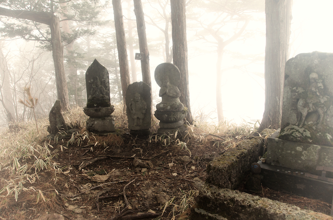 """There are many gates along the trail and several statues and shrines on the peak. The name of the mountain is Soto, which in Japanese means """"open air"""""""
