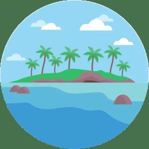 Island Water Rocks Palm Trees Landscape