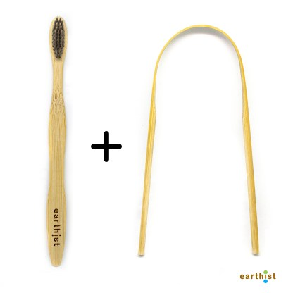 Combo Bamboo Toothbrush & Tongue Cleaner