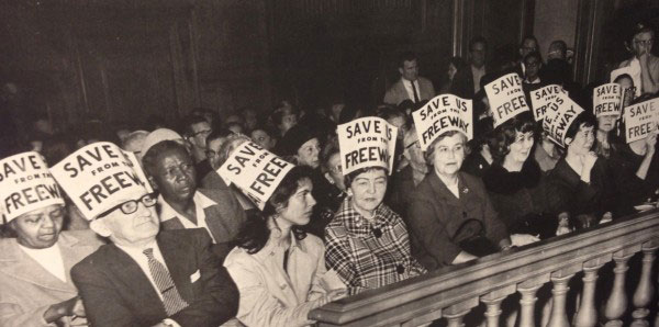 Activists demonstrate against proposed freeway construction in San Francisco in 1960.