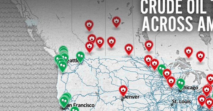 HD Decor Images » Map  Crude by Rail Across America   Earthjustice