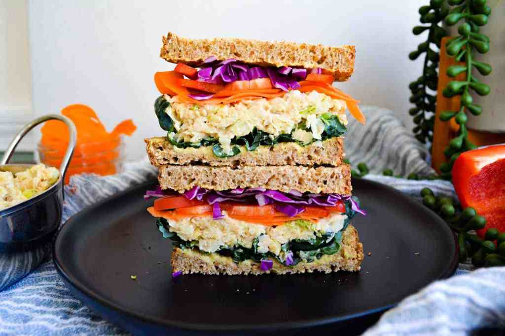 Double Stacked Chickpea Salad Sandwich