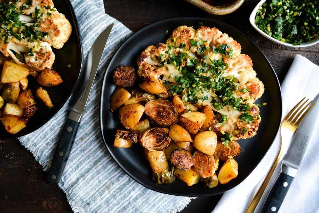 Plated cauliflower steak