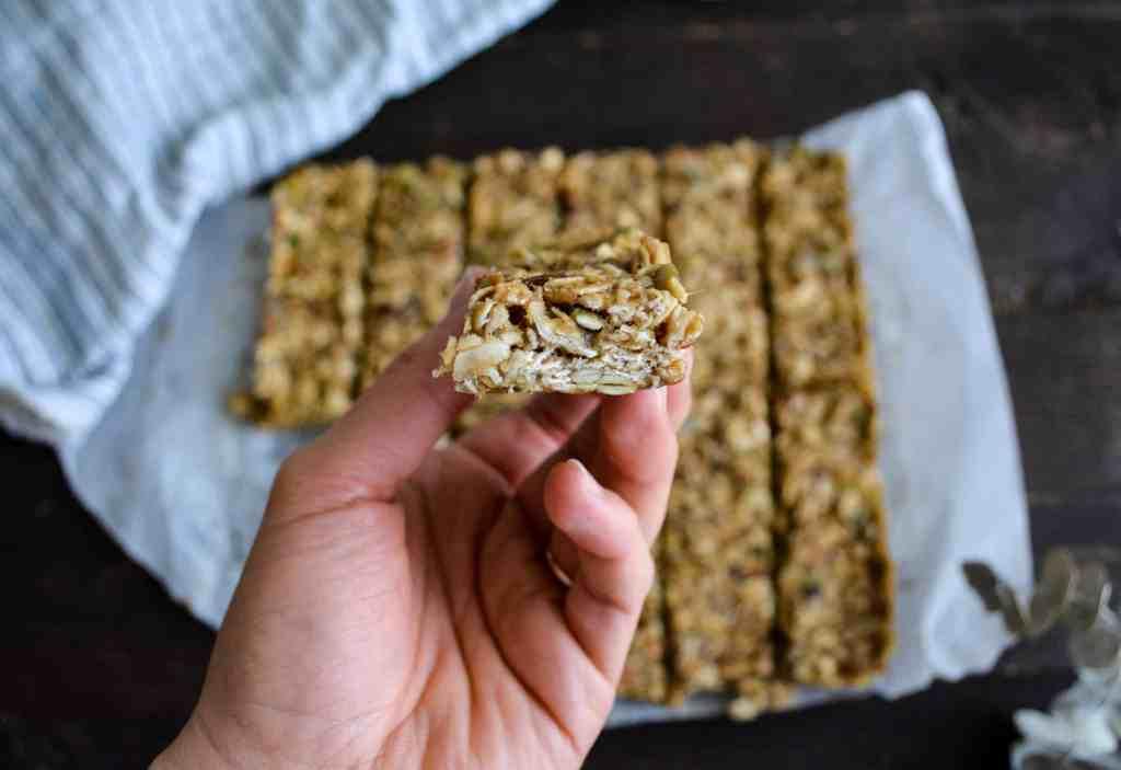 Close up of granola bar