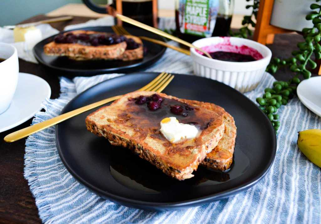 plated landscape of cinnamon french toast