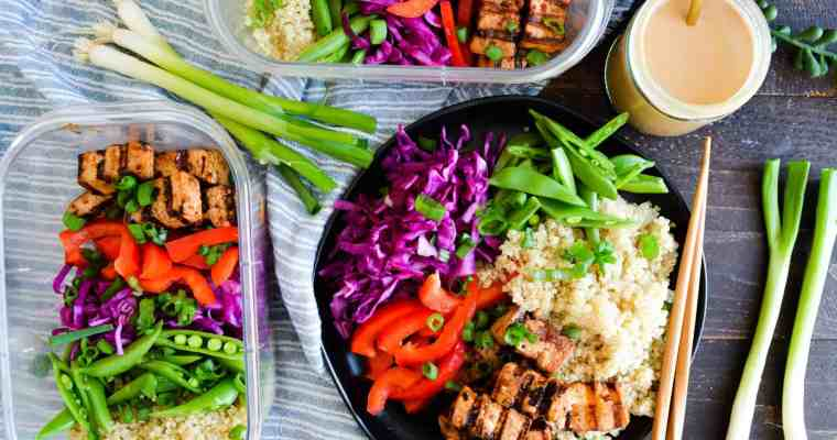 Thai Tofu Grain Bowls with Peanut Dressing