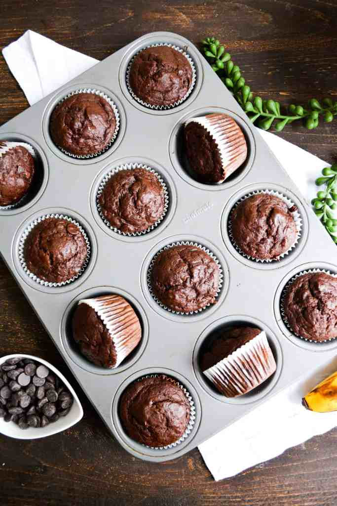 Baked Double Chocolate Banana Muffins